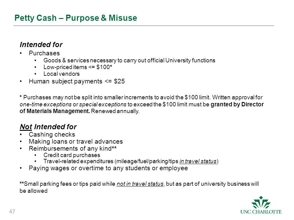 Petty Cash – Purpose & Misuse
