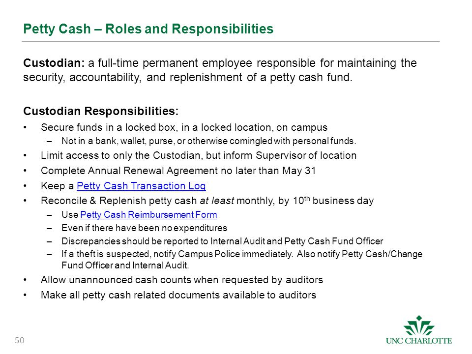 Petty Cash – Roles and Responsibilities