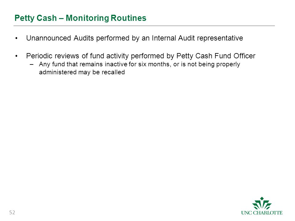 Petty Cash – Monitoring Routines