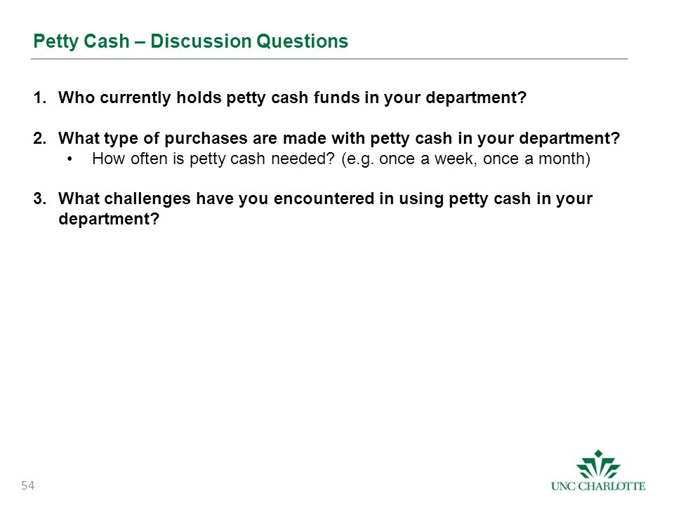 Petty Cash – Discussion Questions