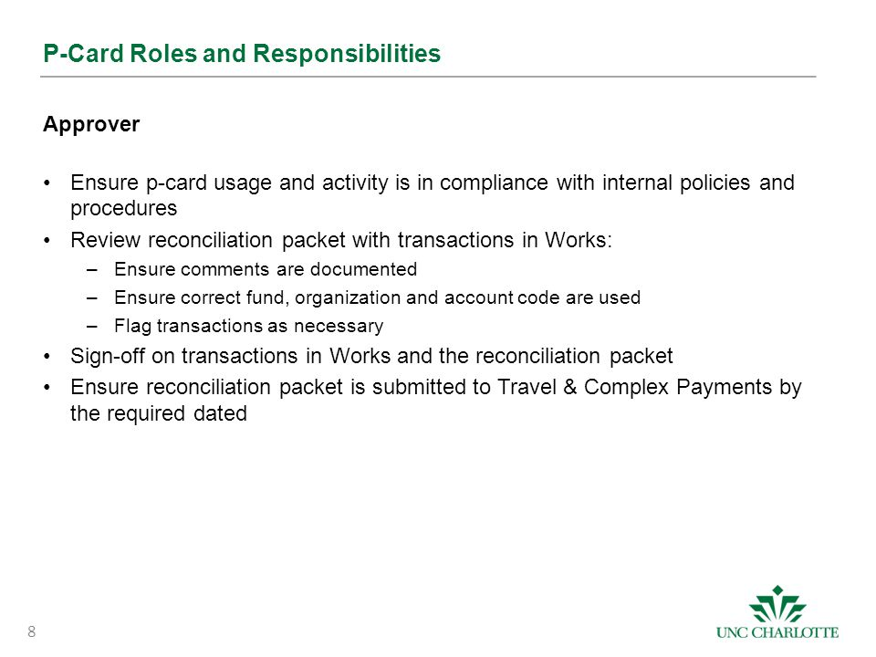 P-Card Roles and Responsibilities