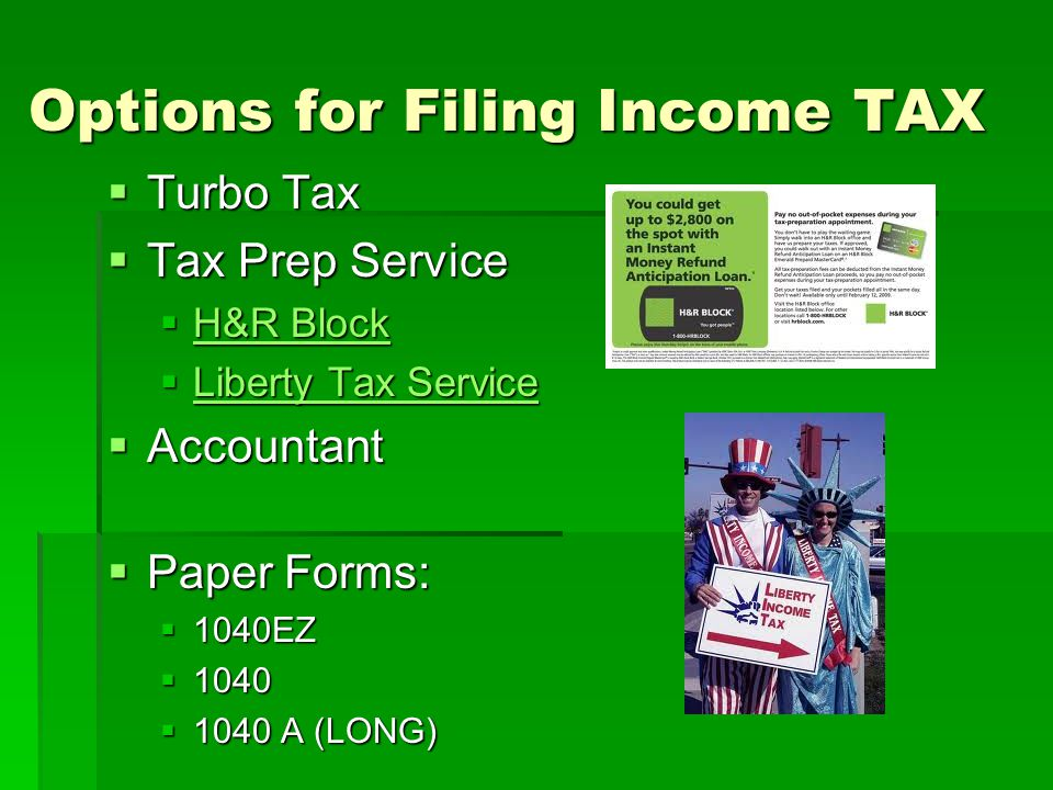 Options for Filing Income TAX