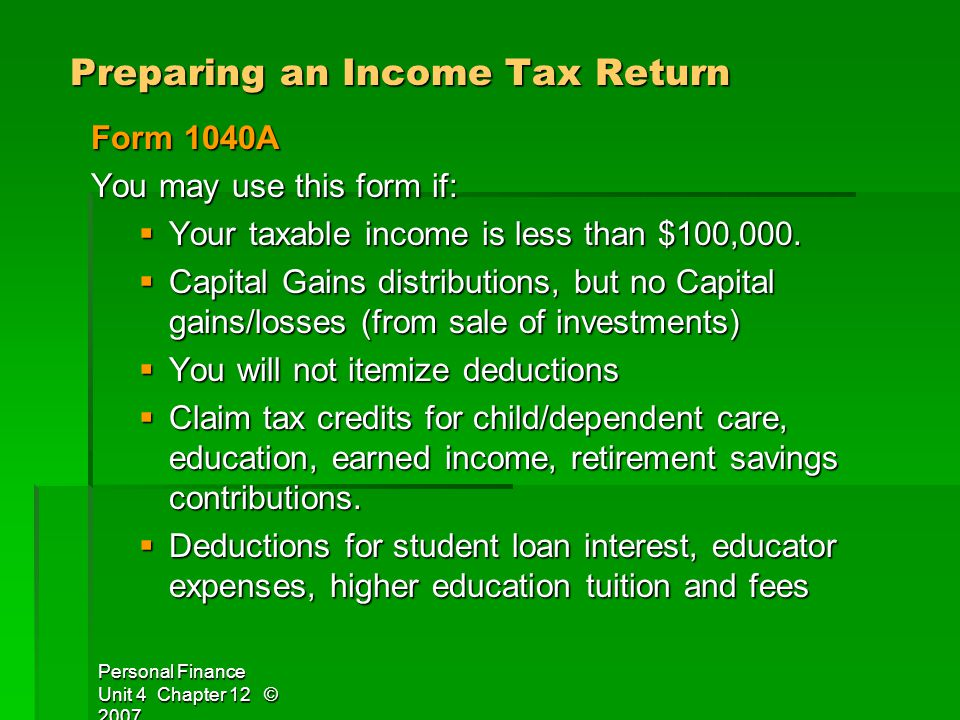 Preparing an Income Tax Return