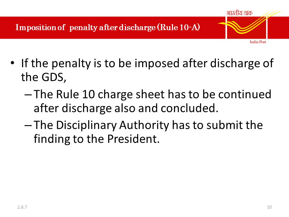 Imposition of penalty after discharge (Rule 10-A)