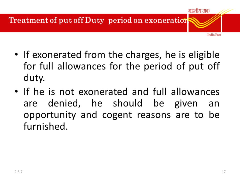 Treatment of put off Duty period on exoneration