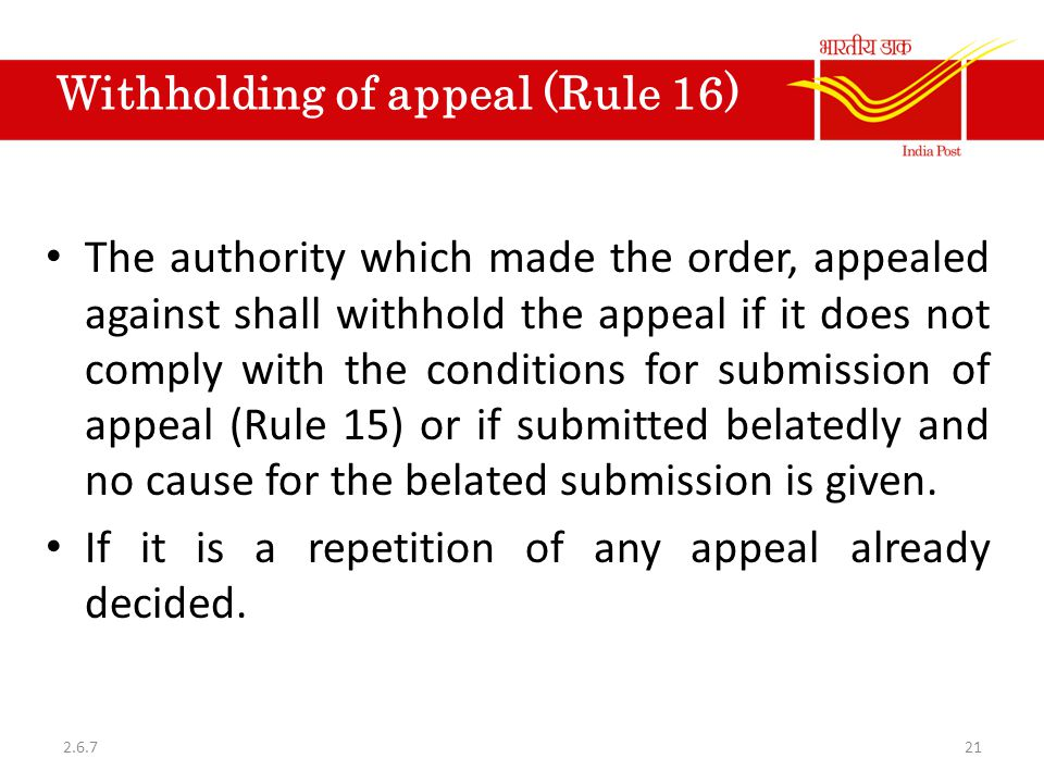 Withholding of appeal (Rule 16)