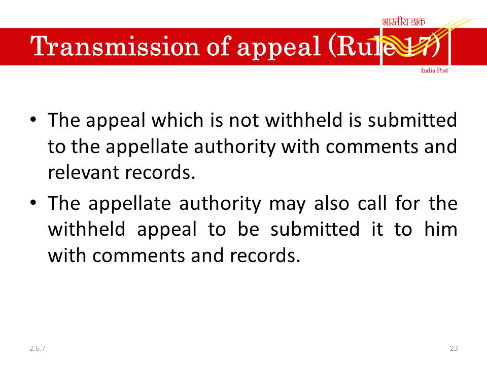 Transmission of appeal (Rule 17)