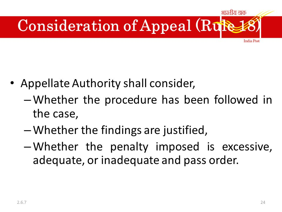 Consideration of Appeal (Rule 18)