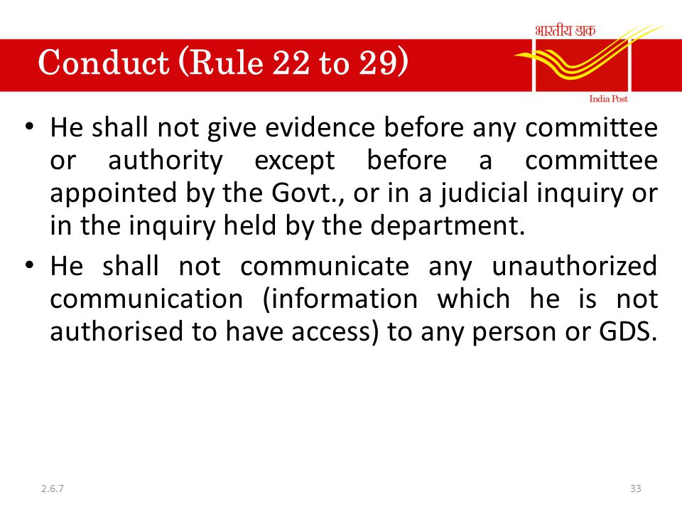 Conduct (Rule 22 to 29)