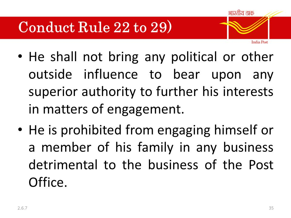 Conduct Rule 22 to 29)