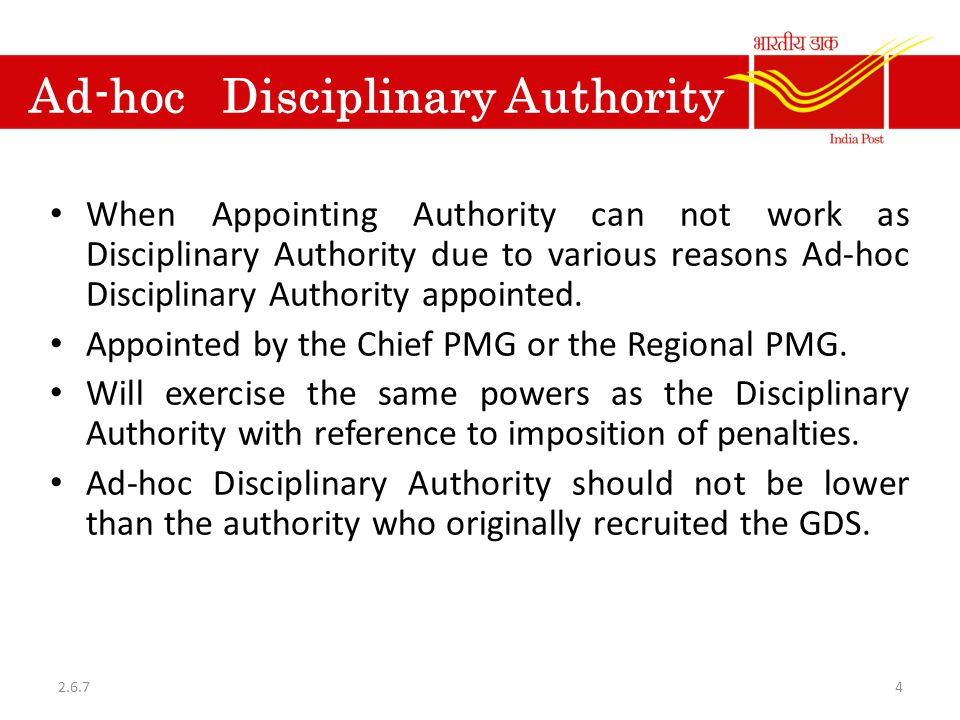 Ad-hoc Disciplinary Authority