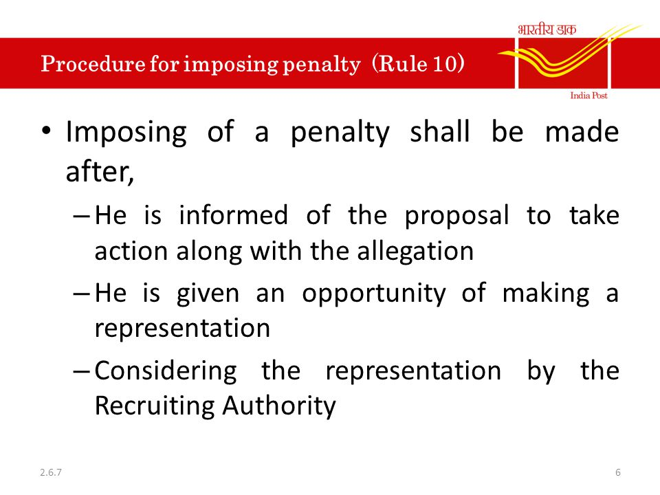 Procedure for imposing penalty (Rule 10)