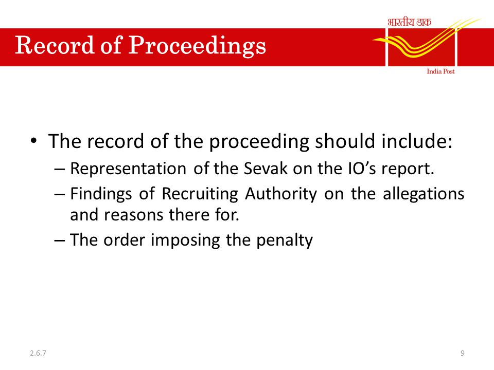 Record of Proceedings The record of the proceeding should include:
