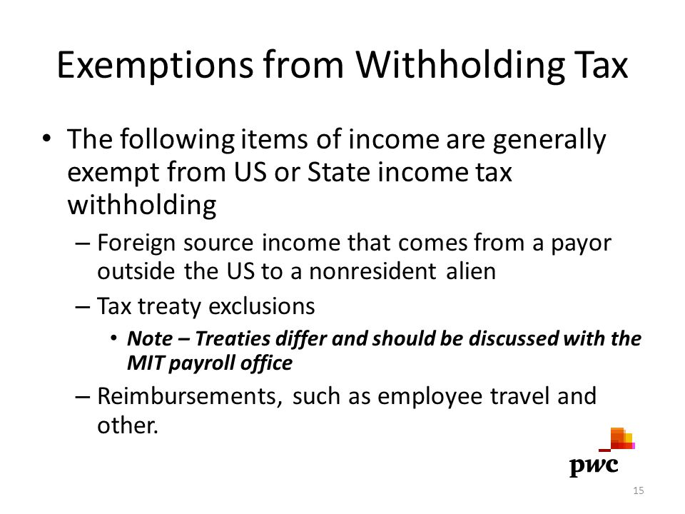 Exemptions from Withholding Tax