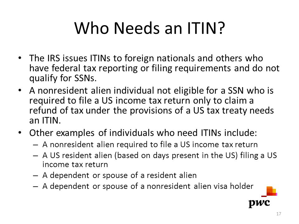Who Needs an ITIN