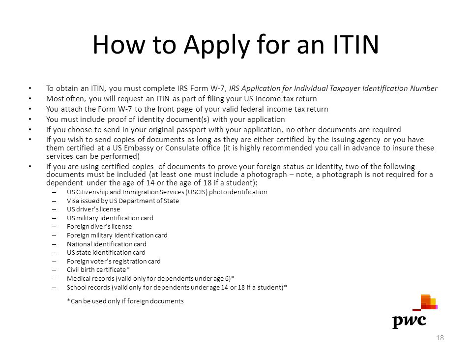 How to Apply for an ITIN To obtain an ITIN, you must complete IRS Form W-7, IRS Application for Individual Taxpayer Identification Number.