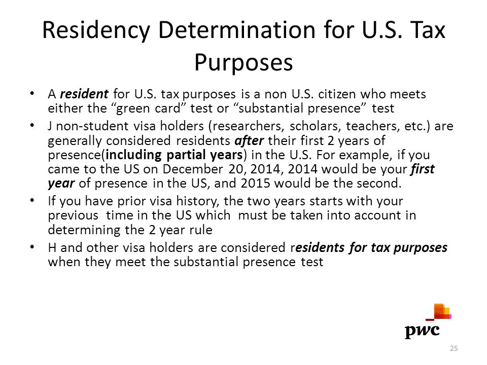 Residency Determination for U.S. Tax Purposes