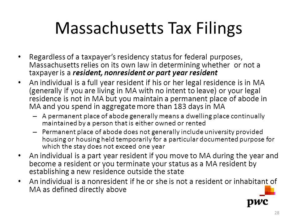 Massachusetts Tax Filings