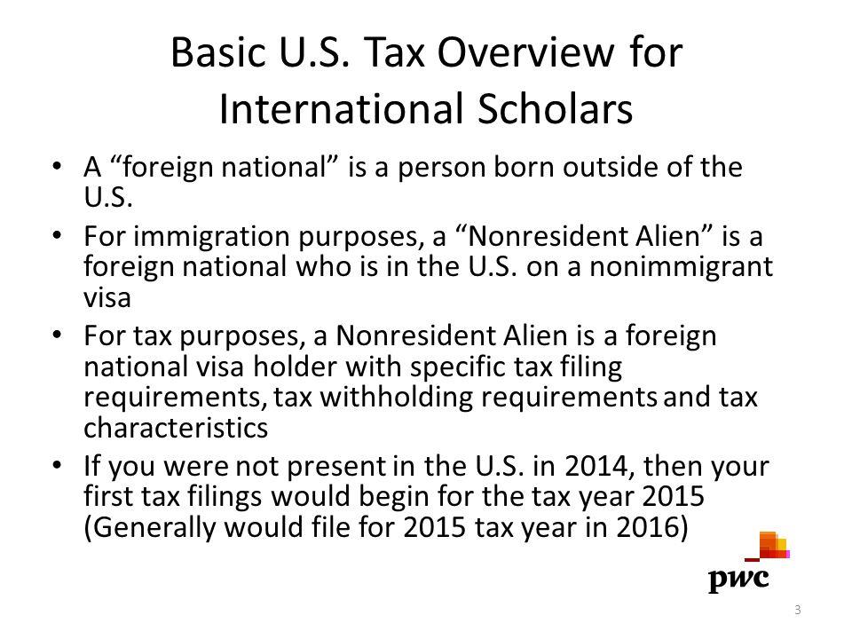 Basic U.S. Tax Overview for International Scholars