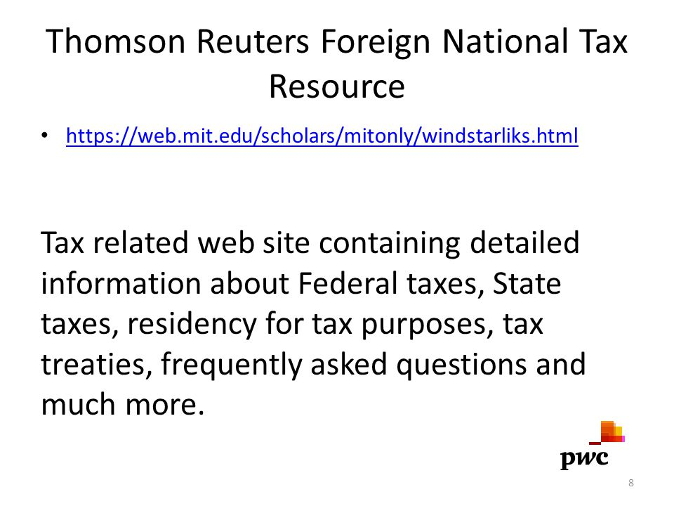 Thomson Reuters Foreign National Tax Resource