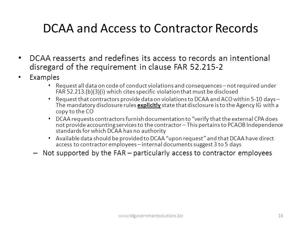 DCAA and Access to Contractor Records