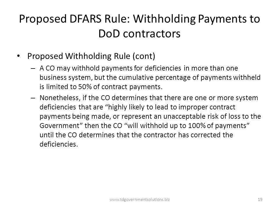 Proposed DFARS Rule: Withholding Payments to DoD contractors