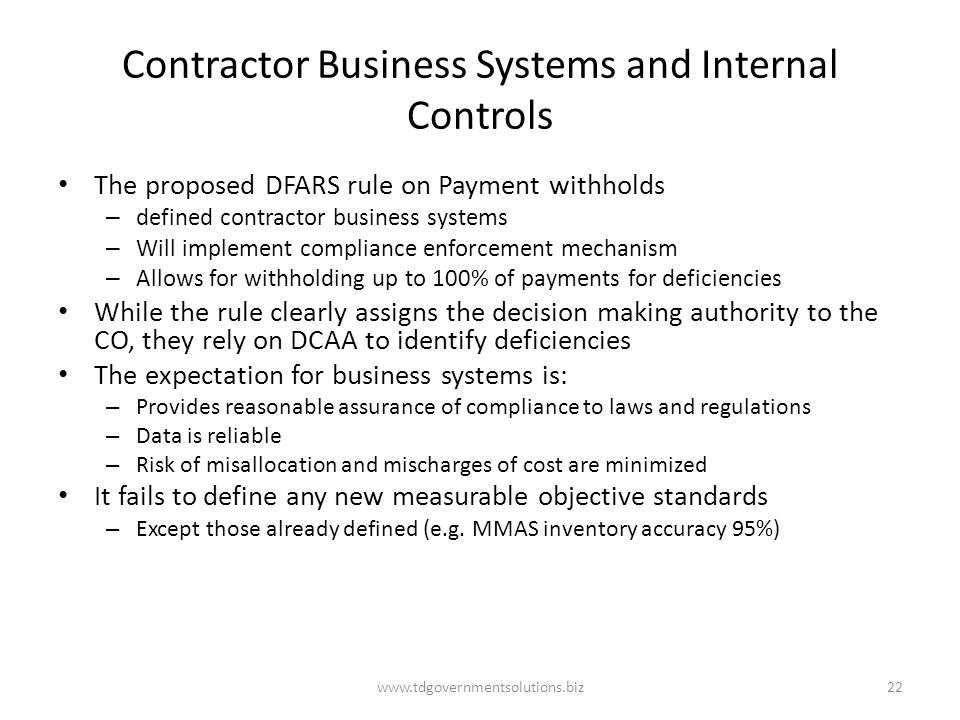 Contractor Business Systems and Internal Controls