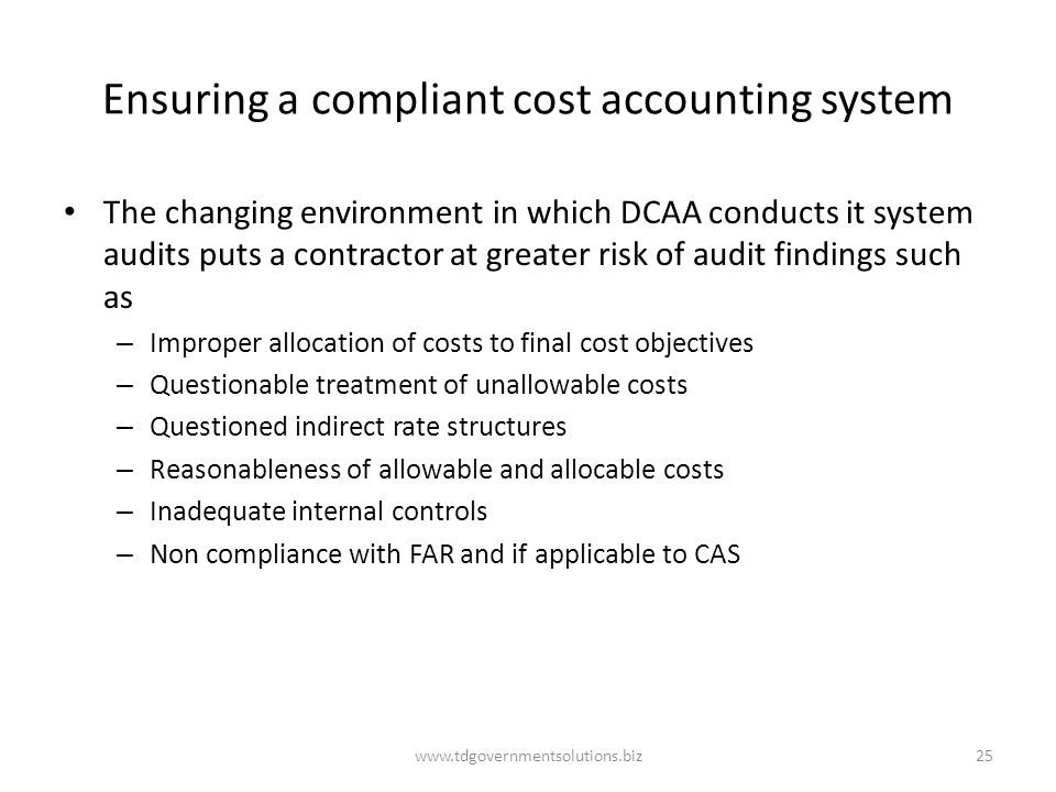Ensuring a compliant cost accounting system