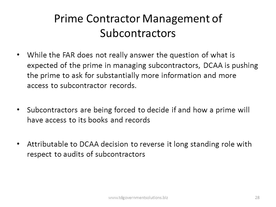 Prime Contractor Management of Subcontractors
