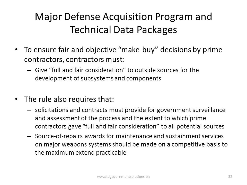 Major Defense Acquisition Program and Technical Data Packages
