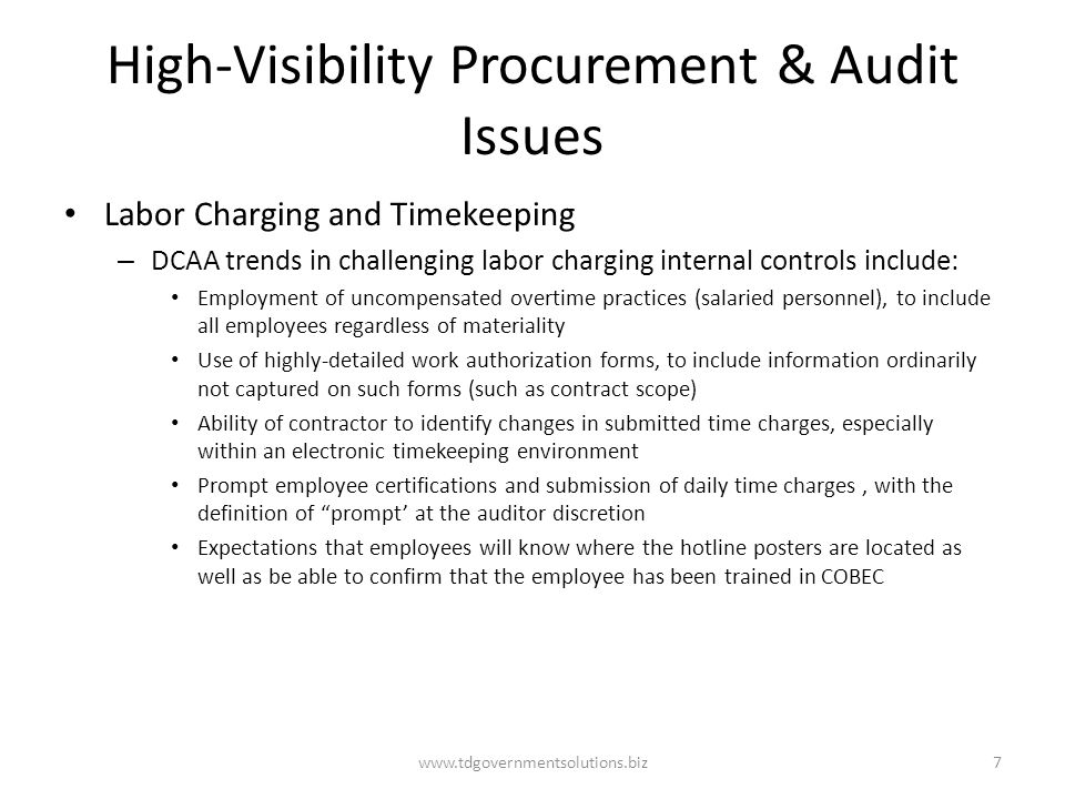 High-Visibility Procurement & Audit Issues