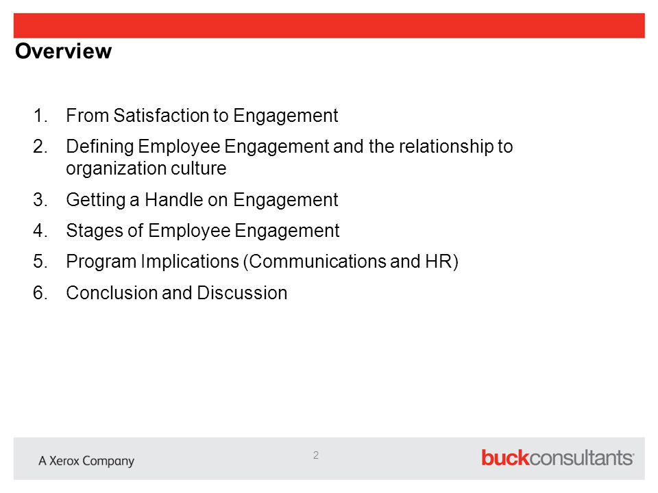 Overview From Satisfaction to Engagement