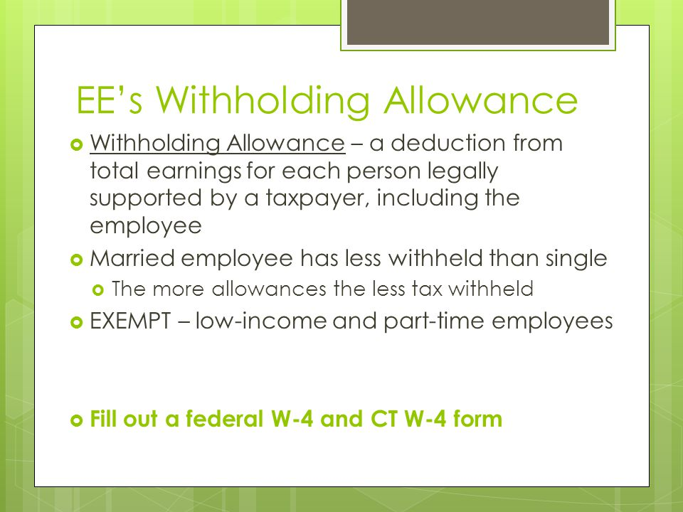 EE's Withholding Allowance