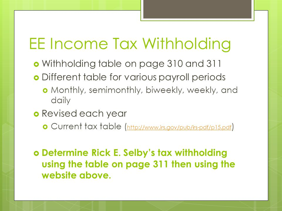 EE Income Tax Withholding