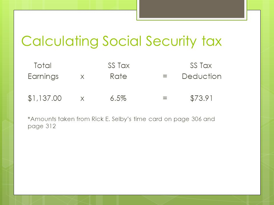 Calculating Social Security tax