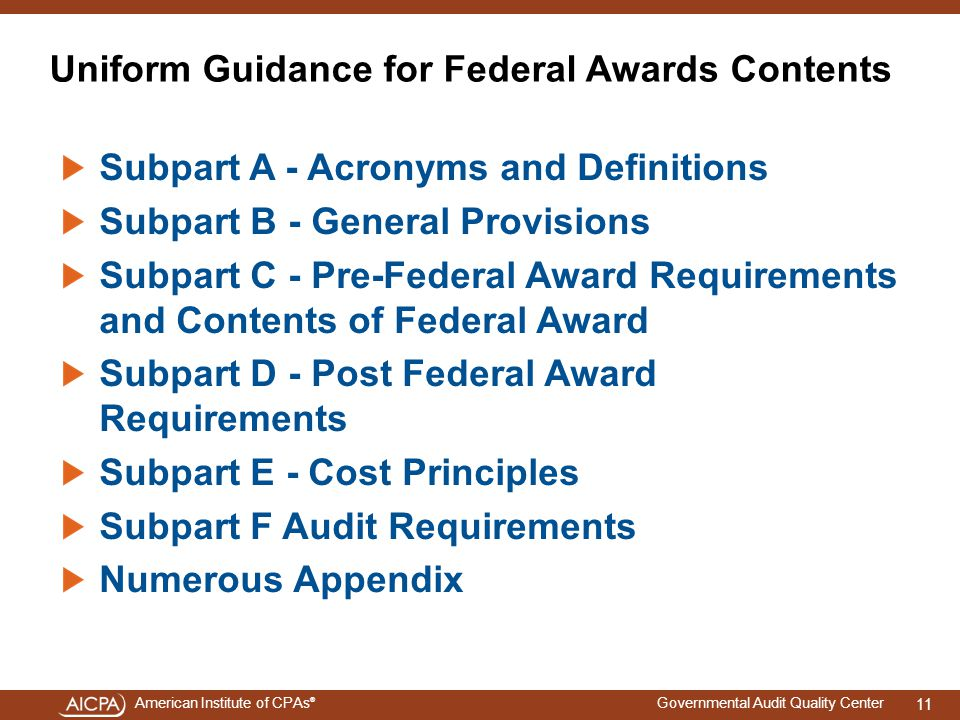Uniform Guidance for Federal Awards Contents