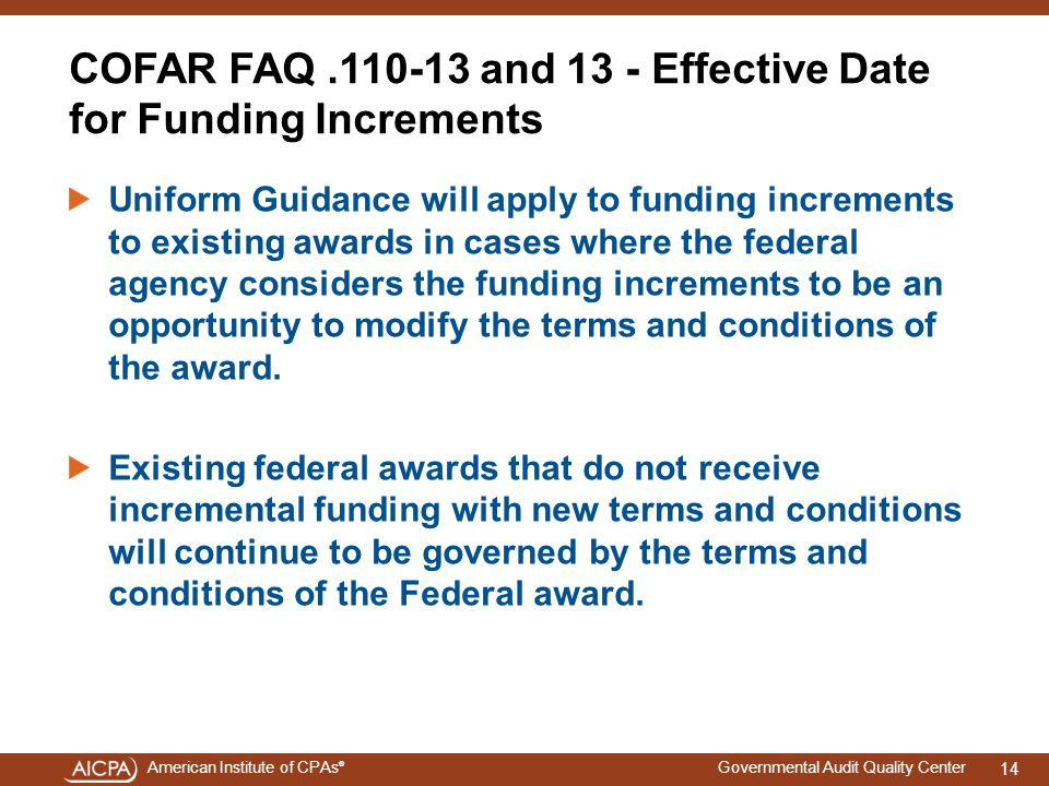 COFAR FAQ .110-13 and 13 - Effective Date for Funding Increments