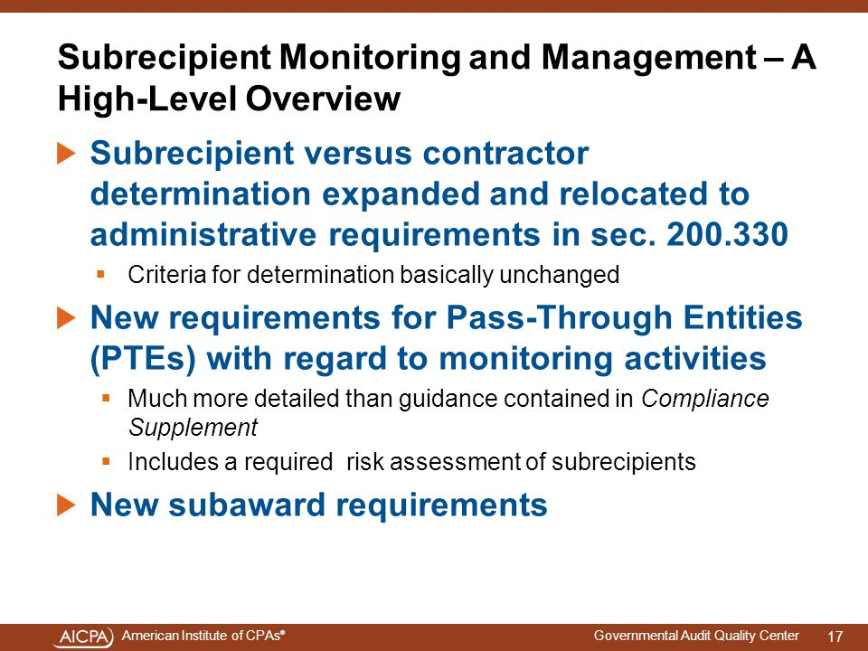Subrecipient Monitoring and Management – A High-Level Overview