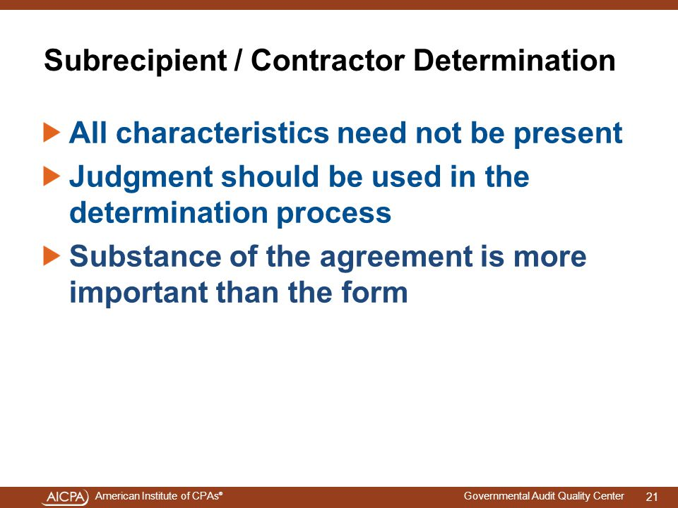 Subrecipient / Contractor Determination