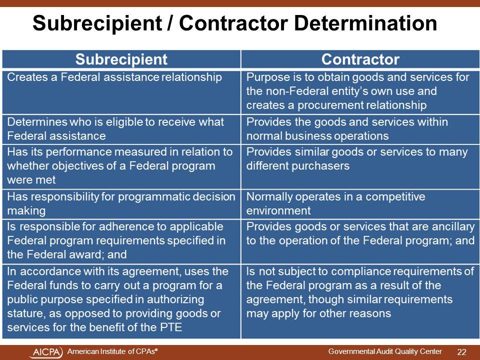 Subrecipient / Contractor Determination