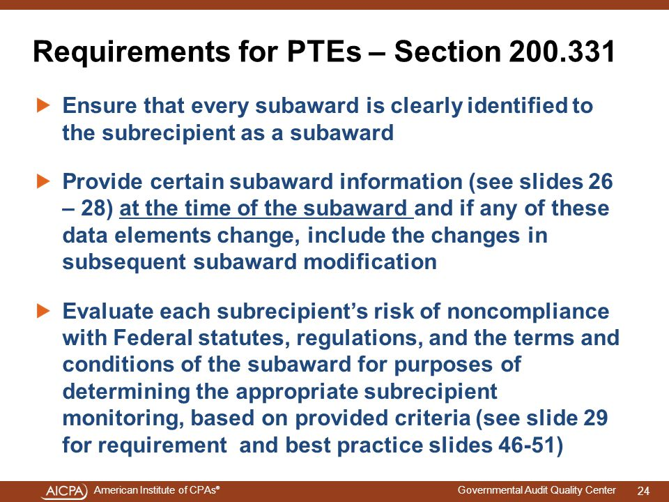 Requirements for PTEs – Section 200.331