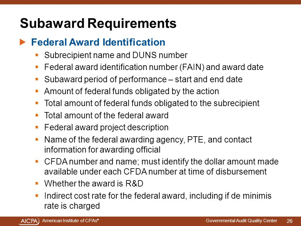 Subaward Requirements