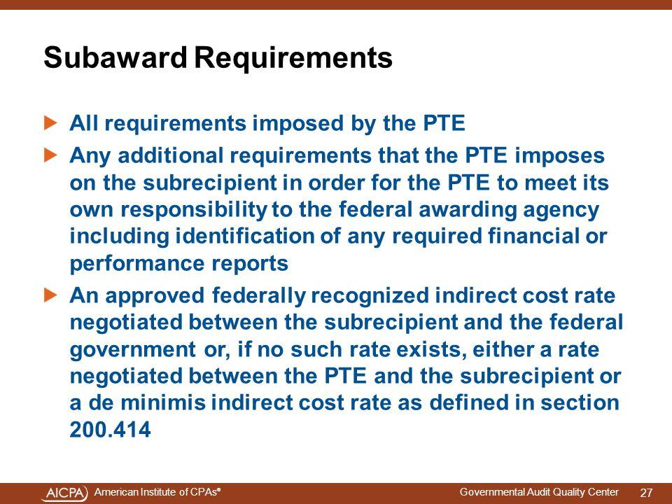 Subaward Requirements