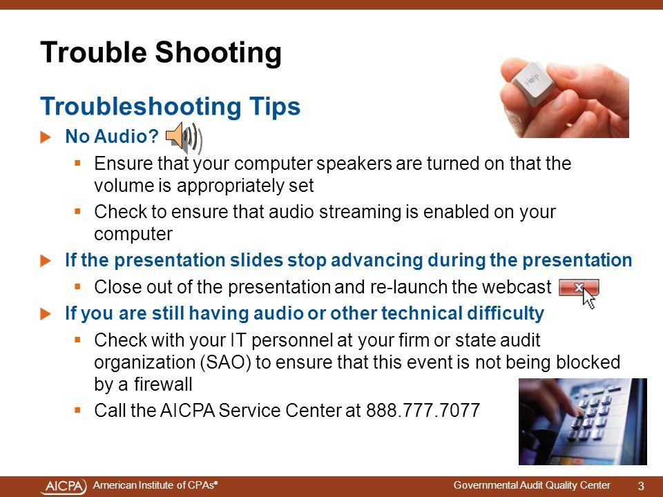 Trouble Shooting Troubleshooting Tips No Audio