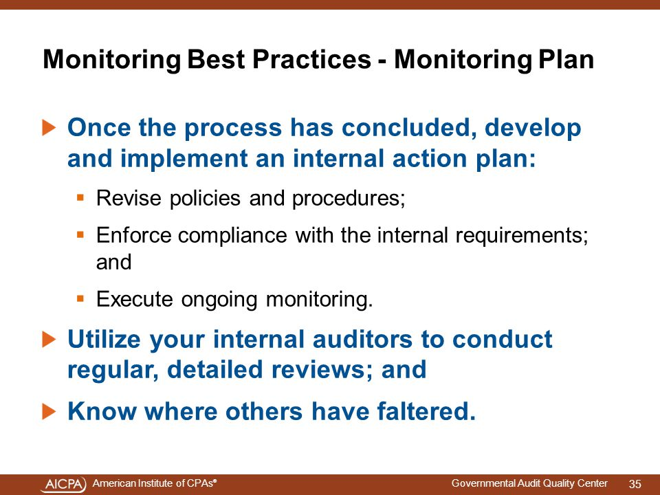 Monitoring Best Practices - Monitoring Plan