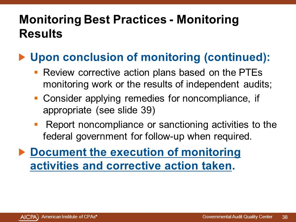 Monitoring Best Practices - Monitoring Results