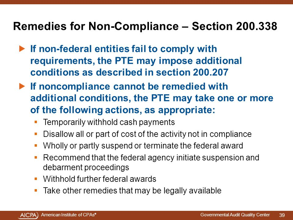 Remedies for Non-Compliance – Section 200.338