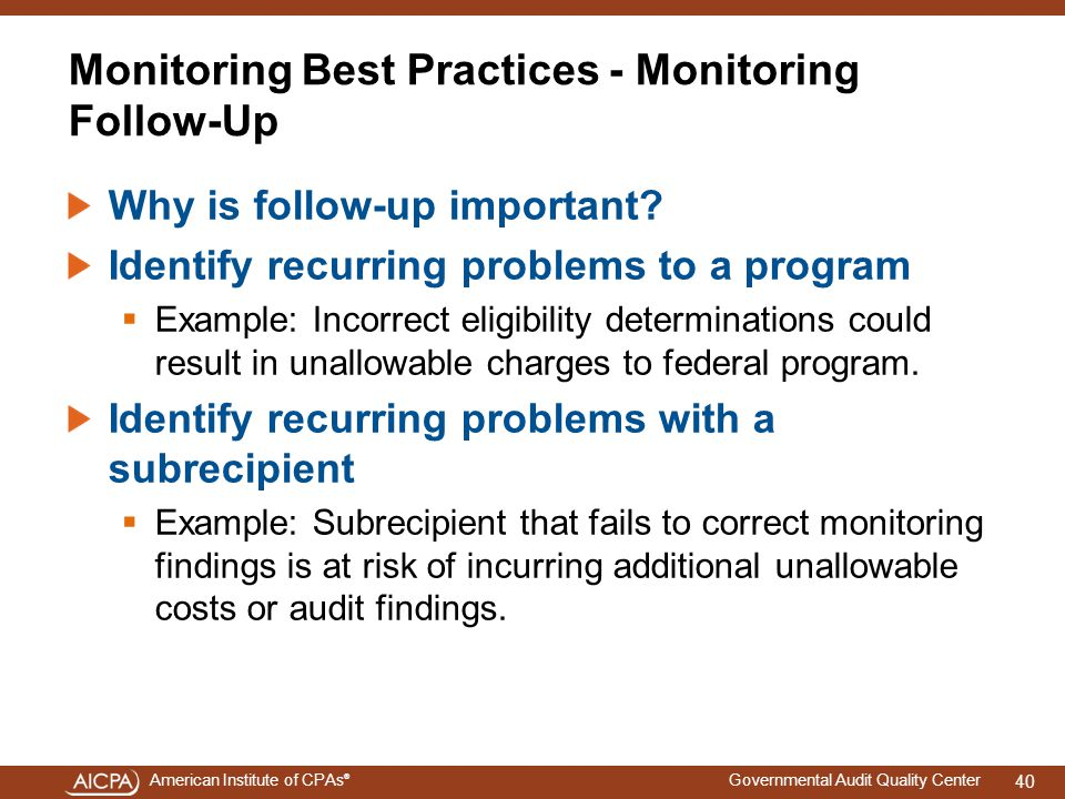 Monitoring Best Practices - Monitoring Follow-Up