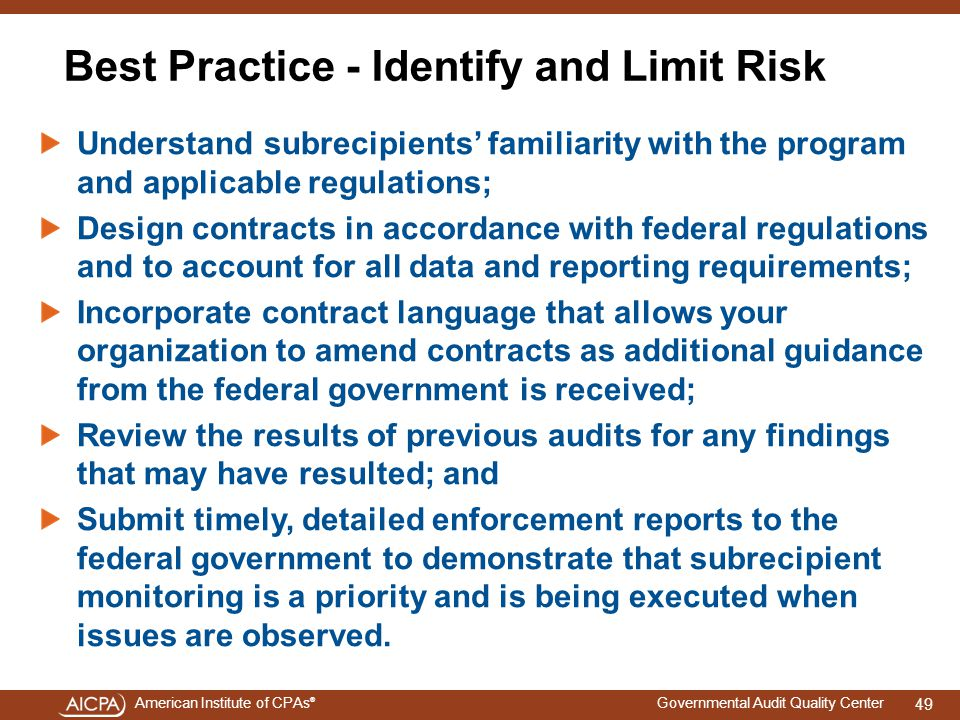 Best Practice - Identify and Limit Risk