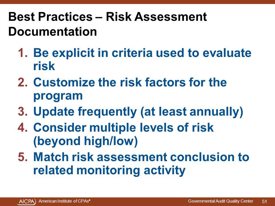 Best Practices – Risk Assessment Documentation